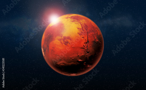 Mars the Red planet of the solar system in space. High resolution art presents planet Mars in space.
