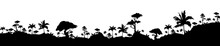 Jungle Black Silhouette Vector Illustration. Subtropical Rainforest. Hills With Trees. Nature And Wildlife. Panoramic Environment. Tropical Monochrome Landscape. Exotic Woods 2d Cartoon Shape