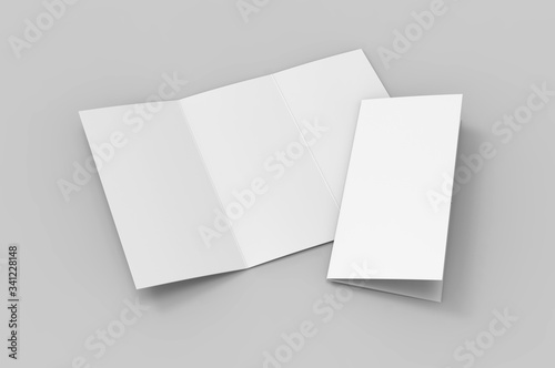 Fototapeta Blank tri fold brochure template for mock up and presentation design. 3d render illustration. obraz