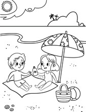 Black And White Two Cute Kids Having Fun On Tropical Beach. Coloring Activity Page For Kids. Vector Illustration.