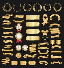 Golden Badge Labels Shields An...