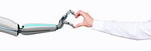 Businessman Robot Hands Connection HUD Network