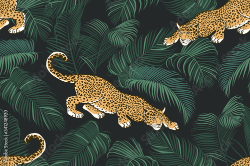 Fotografia The stalking wild jaguar and palm leaves