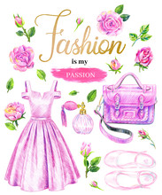Big Fashionable Set In Pink Colors. Evening Prom Dress, Perfume, Shoes, Satchel Bag.