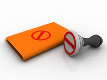 3d Illustration Approved Rubber Stamp With Folder
