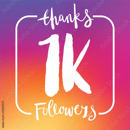 Valokuvatapetti Thanks 1K followers. Social media subscriber banner