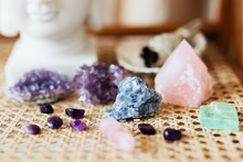 Colorful Healing Crystals On A...