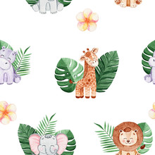 Watercolor Safari Animals And ...