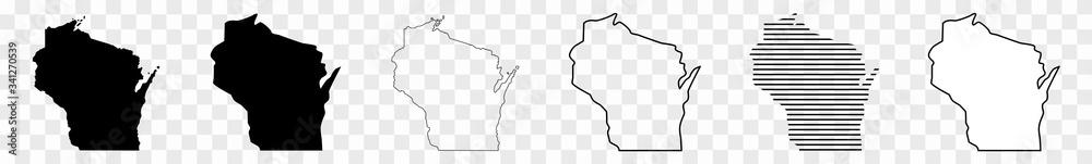 Fototapeta Wisconsin Map Black | State Border | United States | US America | Transparent Isolated | Variations