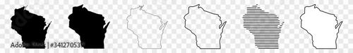 Valokuvatapetti Wisconsin Map Black | State Border | United States | US America | Transparent Is