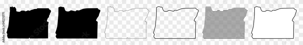 Fototapeta Oregon Map Black | State Border | United States | US America | Transparent Isolated | Variations