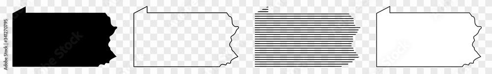 Fototapeta Pennsylvania Map Black | State Border | United States | US America | Transparent Isolated | Variations