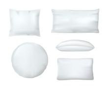 Realistic White Cushion Pillow...