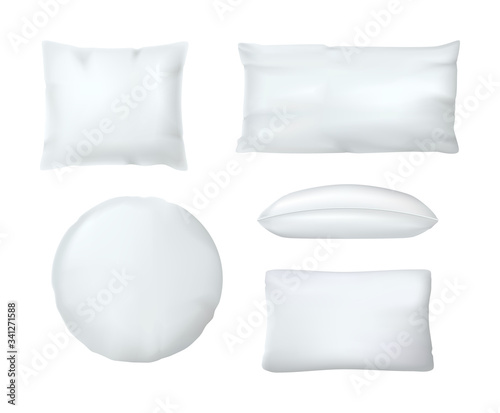 Valokuva Realistic white cushion pillows