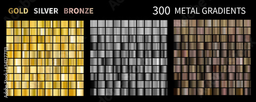 Obraz Gold, silver, bronze gradients. Collection of colorful gradient illustrations for backgrounds - fototapety do salonu