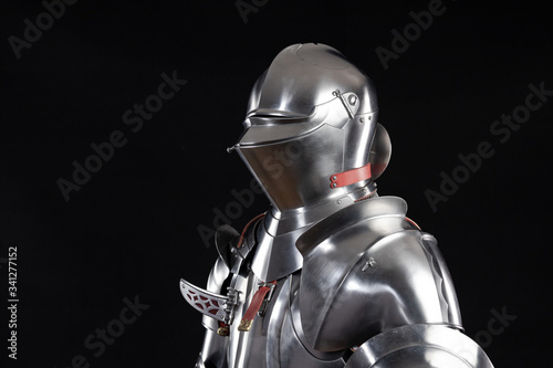 Medieval knightly armor, full set and details, made by an adult in full growth Canvas Print