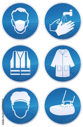 Cuadros en Lienzo Collection de panneaux d'obligations masque,laver les mains, gilet de sécurité,b