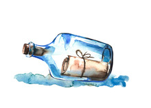 Watercolor Hand Painted Sea Glass Bottle With Letter.