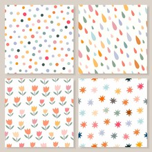 Childish Seamless Patterns Collection With Four Different  Cute Backgrounds, Pastel Colors