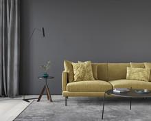 Dark Gray Living Room Interior...
