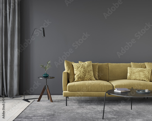 Dark gray living room interior with yellow sofa Fototapet