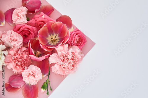 Obraz na plátně top view of roses, tulips and carnations on pink and white background