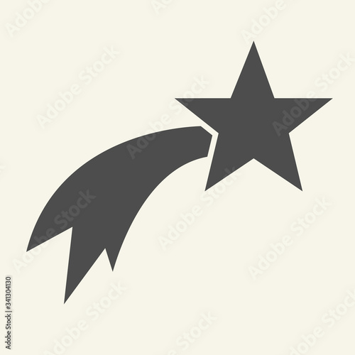 Obraz Shooting star solid icon. Christmas falling star glyph style pictogram on white background. Glowing comet with trail for mobile concept and web design. Vector graphics. - fototapety do salonu