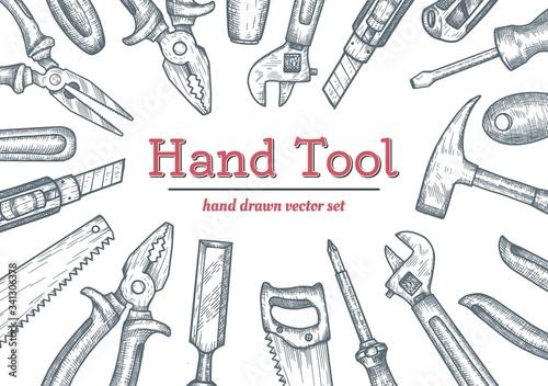 Obraz na plátně Hand tools top view frame