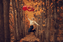 Girl With A Red Umbrella, Flyi...