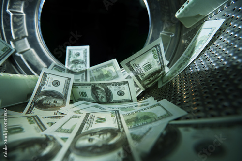 Canvas Washing banknotes in machine, money laundering, financial fraud concept