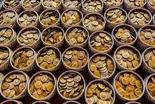 Full Frame Shot Of Coins In Co...