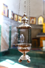 Orthodox Church, Censer With Smoking, On The Background Of Icons, At The Altar Of The Orthodox Church. The Concept Of The Orthodox Faith