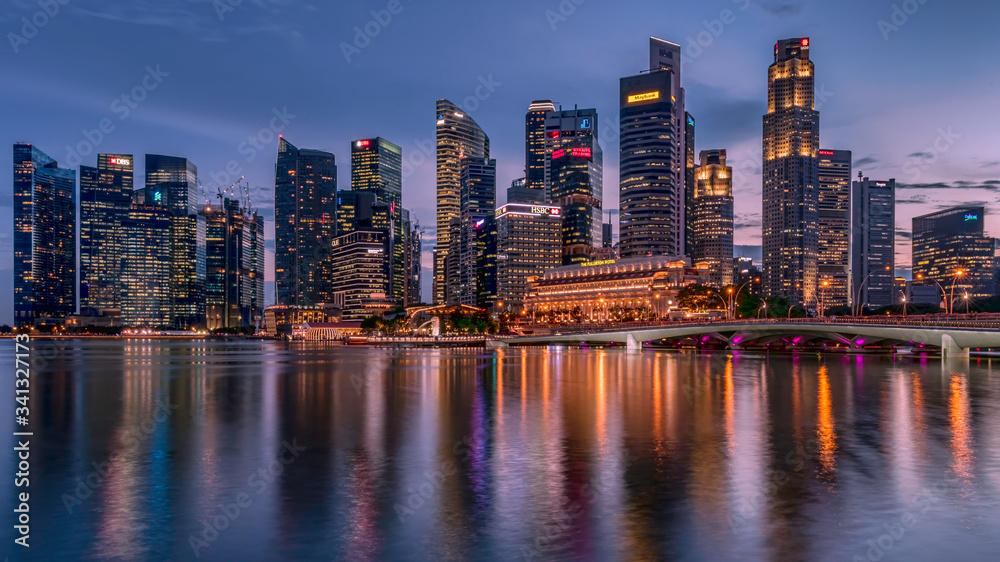Singapore downtown business architecture seen from Esplanade after sunset