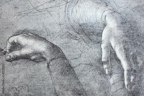 Etude of hands for Jaconda by Leonardo Da Vinci in a vintage book Leonard de Vin Tablou Canvas