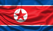 Realistic Flag. North Korea Flag Blowing In The Wind. Background Silk Texture. 3d Illustration.