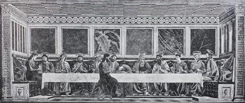 Photo The last supper by Andrea del Castagno in the vintage book Leonardo da Vinci by A