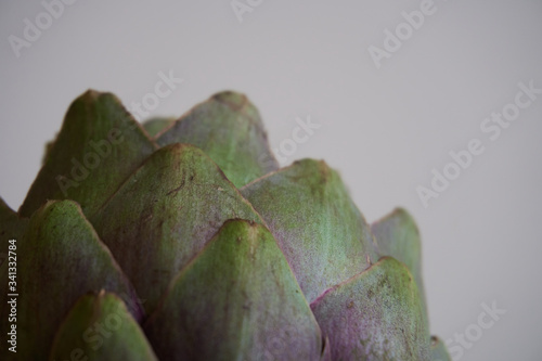 Green artichoke on a grey/white background, fresh organic artichoke head flower Canvas Print