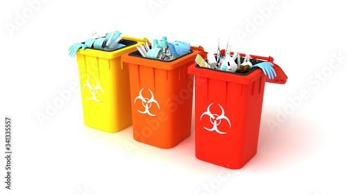 Fototapety, obrazy: Medical trash 3d illustration. Coronavirus protection equipment in medical waste bin. Used face masks and sterile gloves.