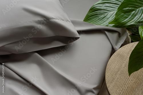 Bed linen in gray, silk fabric texture, bedclothes Wallpaper Mural