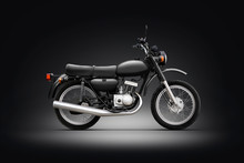 Classic Motorcycle Black Background Photo