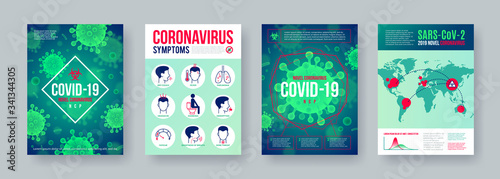 Fotomural Coronavirus poster set with infographics elements
