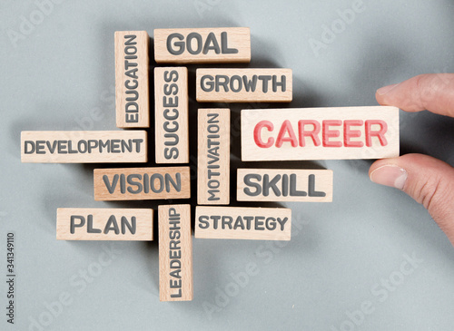 Photo Wooden Blocks with Career Concept