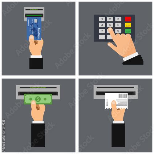Flat design of ATM terminal usage concept Canvas Print