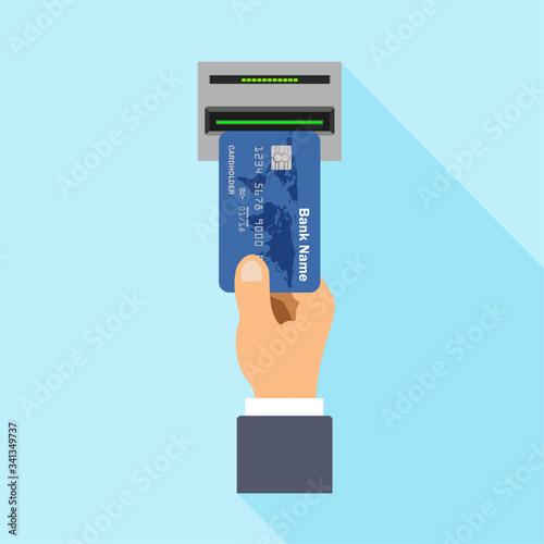 Photo Flat design of ATM terminal usage concept