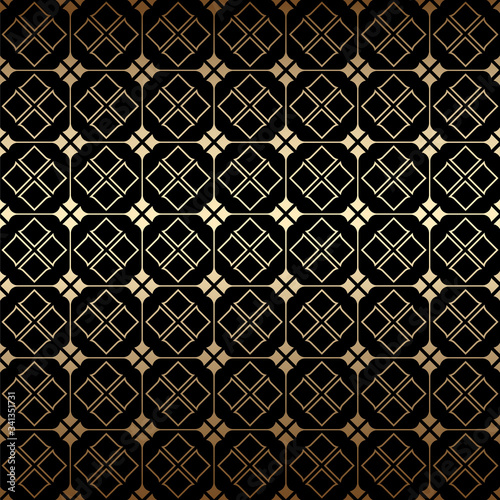 Golden and black art deco geometric seamless pattern