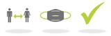 Abstand halten - Maske tragen - Schutz für sich selbst und andere vor dem Coronavirus Covid-19 - 341360971