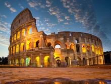 Night View Of Colosseum In Rom...