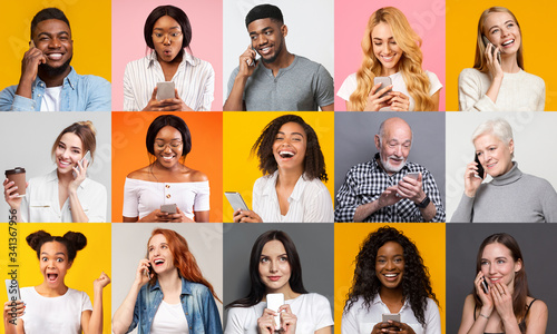 Obraz Happy multiracial people using mobile phones on color background, collage - fototapety do salonu