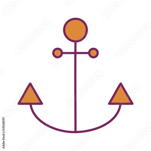 Fotografiet Isolated anchor line and fill style icon vector design