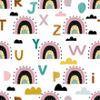 Rainbow and alphabet letters with clouds hand drawn seamless vector fill. Cute childish drawing. Baby wrapping paper, textile, vector illustration .